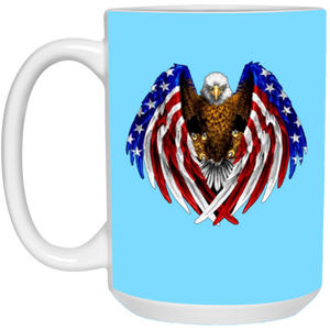Light Blue American Flag Eagle Wings Mug