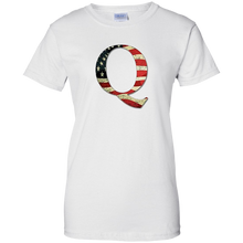 Load image into Gallery viewer, White Q American Flag Qanon/Q T-shirt