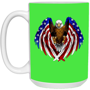 Green American Flag Eagle Wings Mug