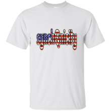 Load image into Gallery viewer, White synchQnicity American Flag Q/Qanon T-shirt