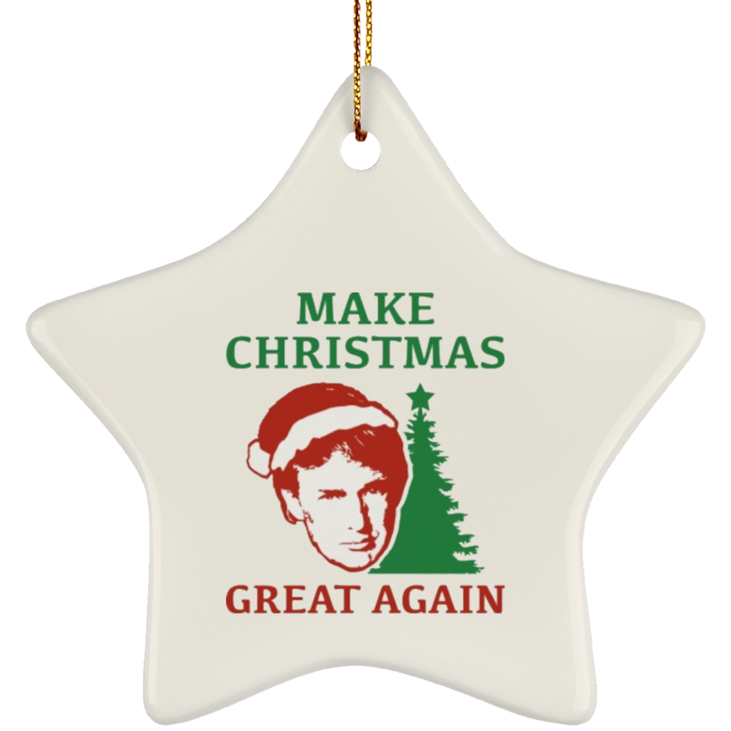 Make Christmas Great Again Trump Ceramic Star Ornament