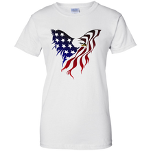 Load image into Gallery viewer, White  Amercian Flag Eagle T-shirt