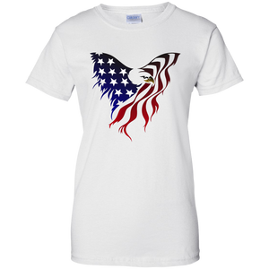 White  Amercian Flag Eagle T-shirt