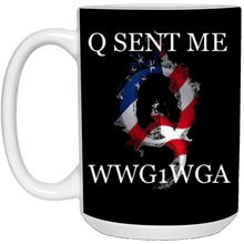 Load image into Gallery viewer, Black Q Sent Me WWG1WGA Q/Qanon Ceramic Mug