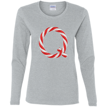 Load image into Gallery viewer, Qanon Candy Cane Q Women's Long Sleeve Shirt
