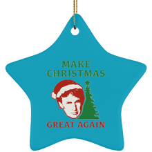 Load image into Gallery viewer, Make Christmas Great Again Trump Ceramic Star Ornament