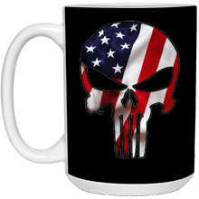 Load image into Gallery viewer, Black American Flag Skull Ceramic Mug