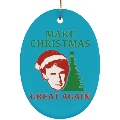 Make Christmas Great Again Trump Ceramic Oval Ornament