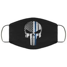 Load image into Gallery viewer, Punisher Skull Thin Blue Line Face Mask