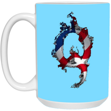 Load image into Gallery viewer, Light Blue American Flag Flame Qanon/Q Mug