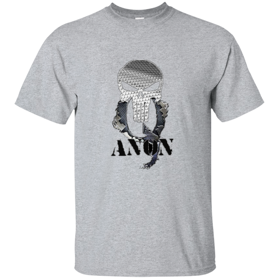 Grey Qanon Punisher Skull T-shirt