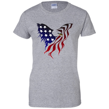 Load image into Gallery viewer, Grey Amercian Flag Eagle T-shirt