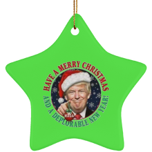 Load image into Gallery viewer, Merry Christmas and a DNY Star Ceramic Ornament