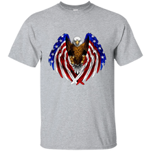 Load image into Gallery viewer, Grey American Flag Eagle Wings T-shirt