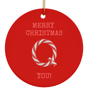 Merry Christmas Q You Ceramic Ornament