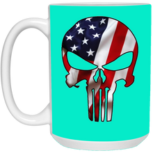 Load image into Gallery viewer, Turquoise American Flag Skull Ceramic Mug