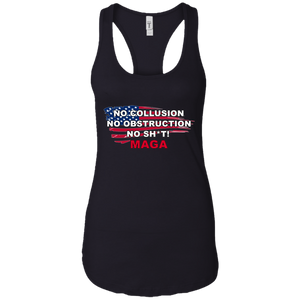 Black Trump - No Collusion No Obstruction No Sh*t MAGA Tank Top