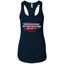 Load image into Gallery viewer, Navy Blue Trump - No Collusion No Obstruction No Sh*t MAGA Tank Top