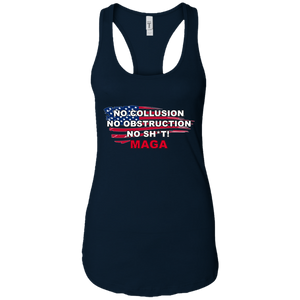 Navy Blue Trump - No Collusion No Obstruction No Sh*t MAGA Tank Top