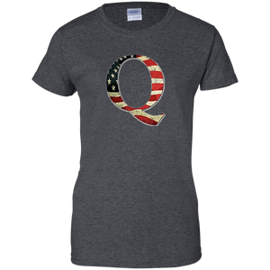 Charcoal Grey Q American Flag Qanon/Q T-shirt