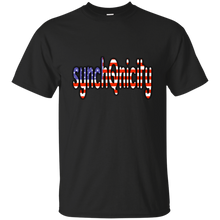 Load image into Gallery viewer, Black synchQnicity American Flag Q/Qanon T-shirt
