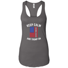 Load image into Gallery viewer, Charcoal Grey Trump Keep Calm And Trump On Women's Tank Top