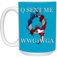 Load image into Gallery viewer, Blue Q Sent Me WWG1WGA Q/Qanon Ceramic Mug