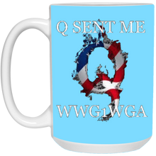 Load image into Gallery viewer, Light Blue Q Sent Me WWG1WGA Q/Qanon Ceramic Mug