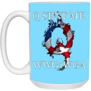 Light Blue Q Sent Me WWG1WGA Q/Qanon Ceramic Mug