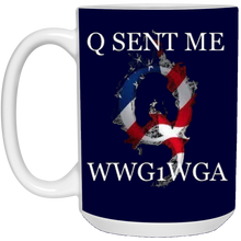 Load image into Gallery viewer, Navy Blue Q Sent Me WWG1WGA Q/Qanon Ceramic Mug