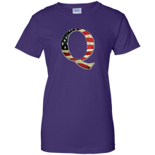 Load image into Gallery viewer, Purple Q American Flag Qanon/Q T-shirt