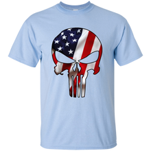 Load image into Gallery viewer, Light Blue American Flag Skull T-shirt