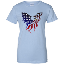 Load image into Gallery viewer, Light Blue Amercian Flag Eagle T-shirt