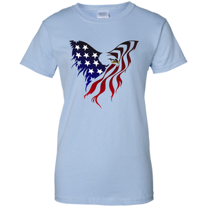 Light Blue Amercian Flag Eagle T-shirt