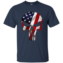 Load image into Gallery viewer, Navy Blue American Flag Skull T-shirt