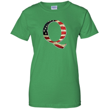 Load image into Gallery viewer, Green Q American Flag Qanon/Q T-shirt