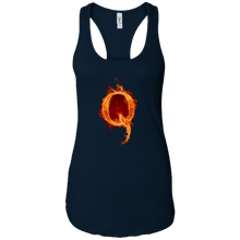 Load image into Gallery viewer, Navy Blue Qanon Q On Fire Tank Top