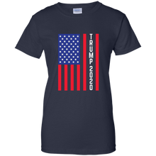 Load image into Gallery viewer, Navy Blue Trump 2020 Flag Women's T-shirt