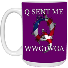 Load image into Gallery viewer, Purple Q Sent Me WWG1WGA Q/Qanon Ceramic Mug
