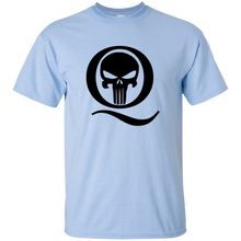 Load image into Gallery viewer, Light Blue Q Skull Q/Qanon T-shirt