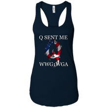 Load image into Gallery viewer, Navy Blue Q Sent Me WWG1WGA Q/Qanon Tank Top