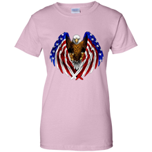 Load image into Gallery viewer, Light Pink American Flag Eagle Wings T-shirt