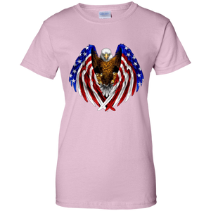 Light Pink American Flag Eagle Wings T-shirt