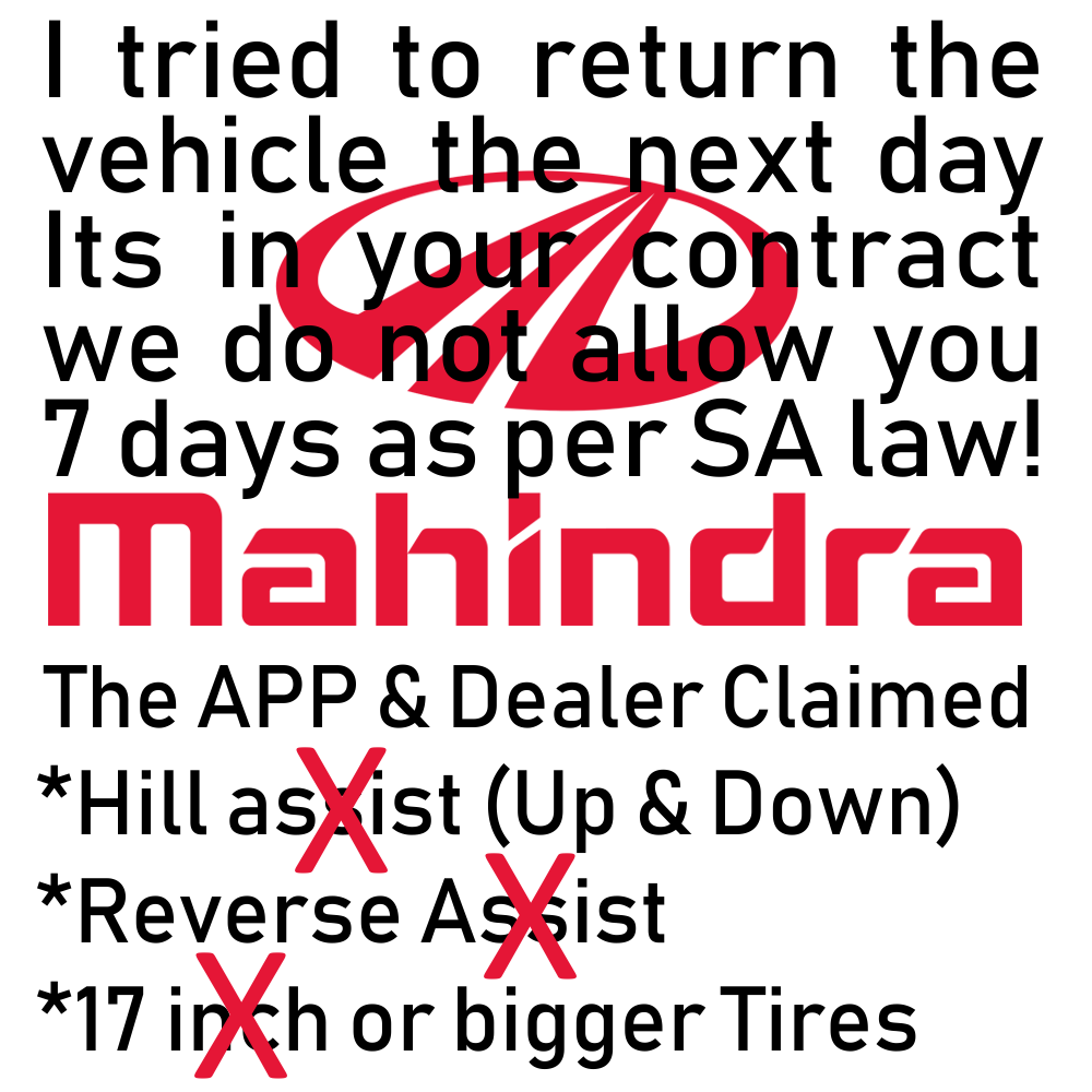 Worst Mahindra Dealers in SA is Alberton!