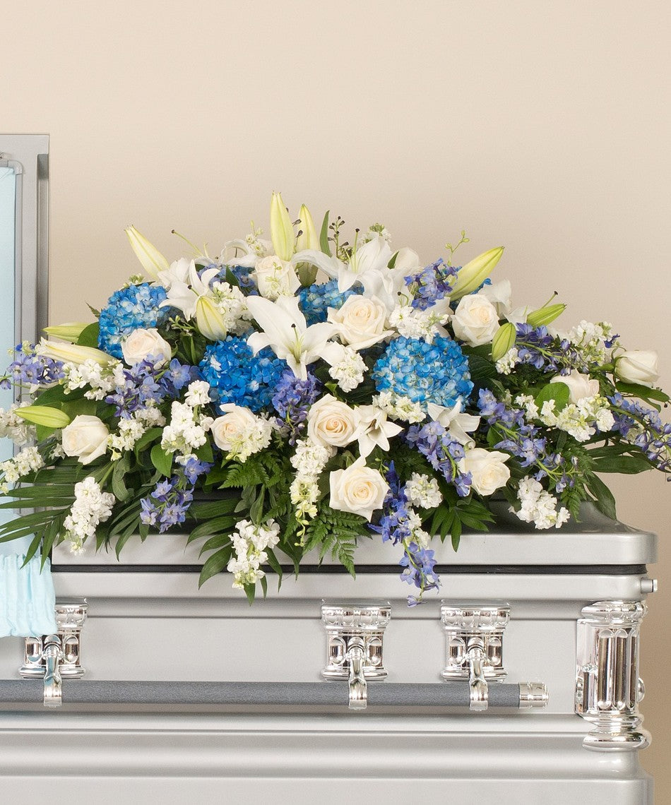 dc delivery sympathy flower, casket spray, blue and white casket, dc funeral flower delivery, funeral flower, casket cover for men, dc funeral service flower