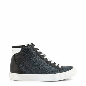 Black Synthetic Leather Sneakers