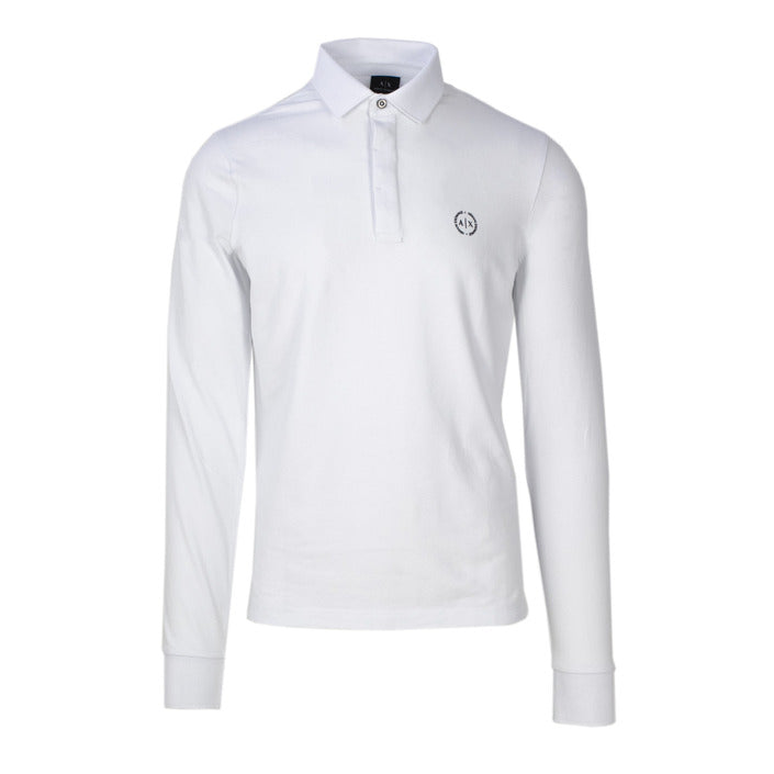 White Cotton Polo T-Shirt with Long Sleeves