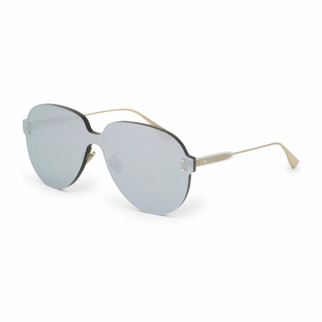 Gray Metal Sunglasses with Mirrored Lenses
