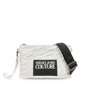 White zip fastened clutch bag with removable and adjustable shoulder strap
