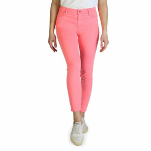 Pink Cotton Jeans with Front and Back Pockets
